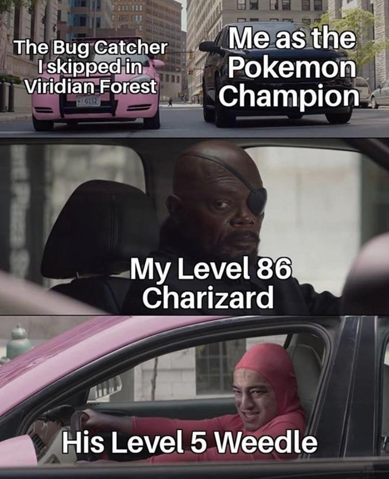 Photo caption - The Bug Catcher Iskipped in Viridian Forest Me as the Pokemon Champion G152 My Level 86 Charizard His Level 5 Weedle
