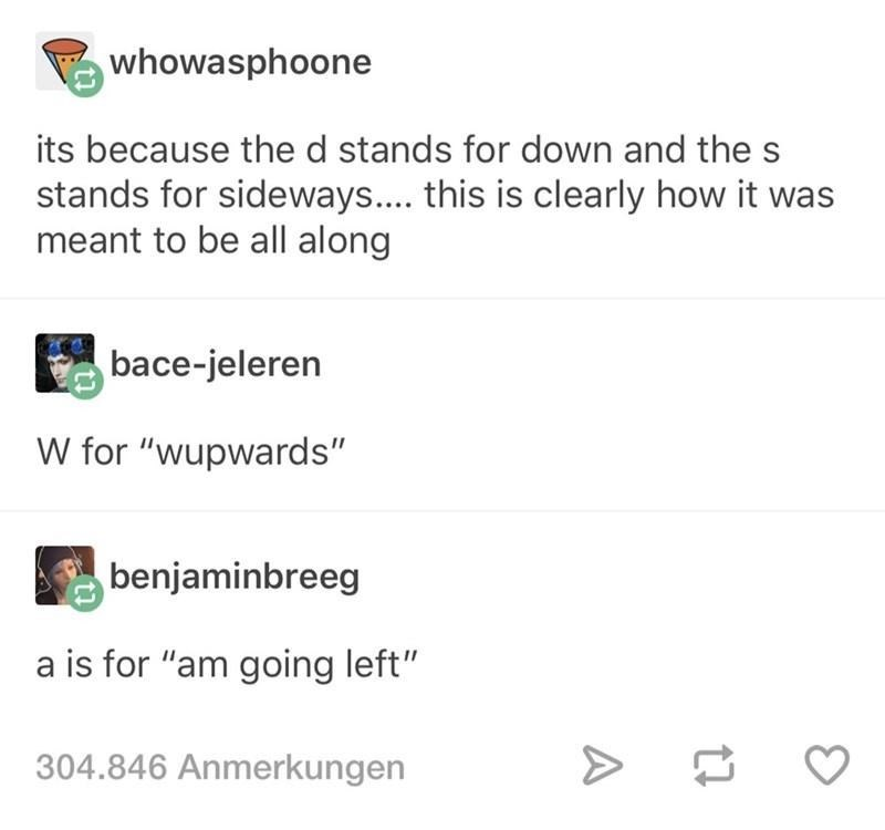 """Text - whowasphoone its because the d stands for down and the s stands for sideways.. this is clearly how it was meant to be all along bace-jeleren W for """"wupwards"""" benjaminbreeg a is for """"am going left"""" 304.846 Anmerkungen A"""