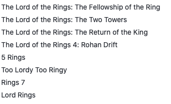 Text - The Lord of the Rings: The Fellowship of the Ring The Lord of the Rings: The Two Towers The Lord of the Rings: The Return of the King The Lord of the Rings 4: Rohan Drift 5 Rings Too Lordy Too Ringy Rings 7 Lord Rings