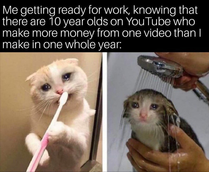 Whiskers - Me getting ready for work, knowing that there are 10 year olds on YouTube who make more money from one video thanI make in one whole year: