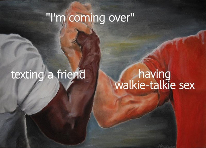 """Arm - """"I'm coming over"""" having walkie-talkie sex texting a friend"""