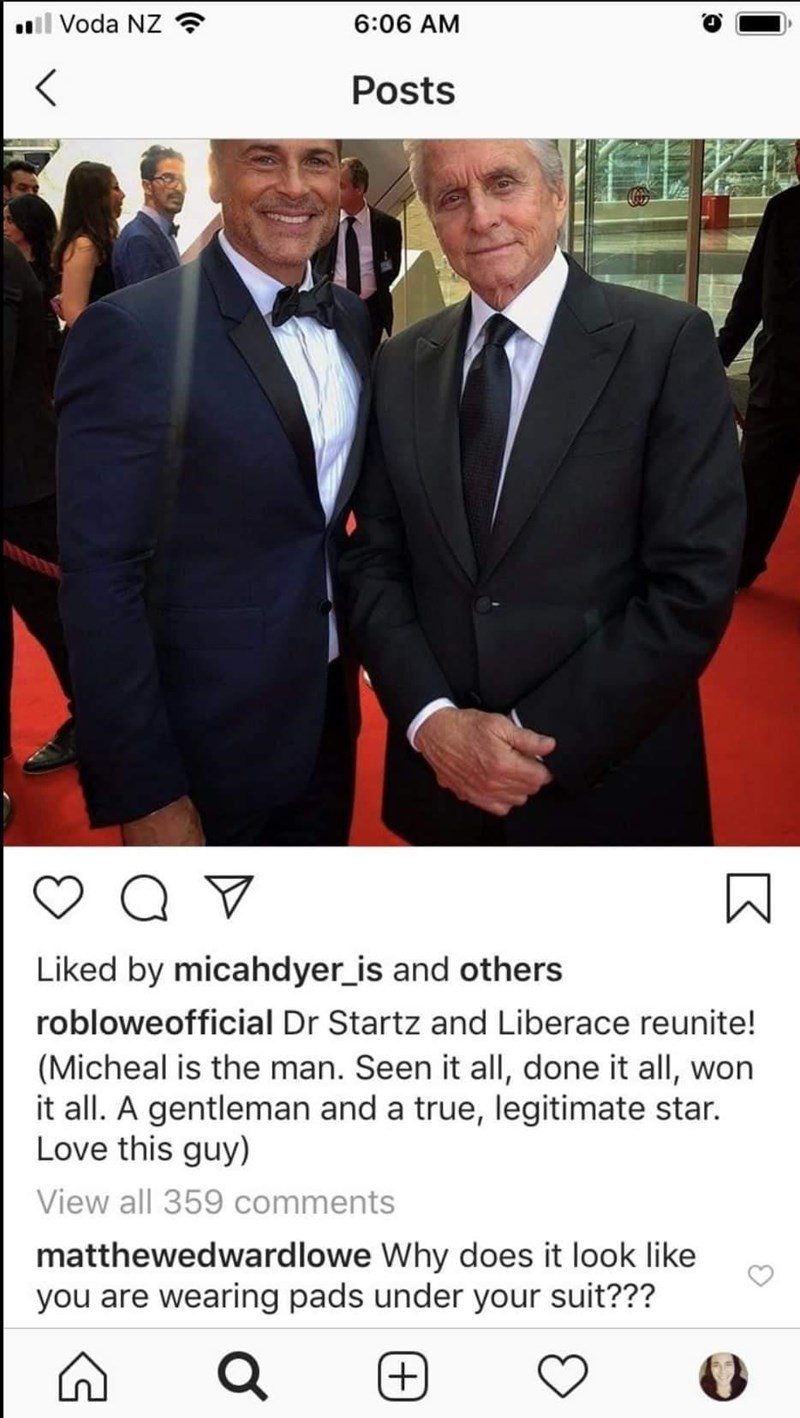 Suit - ll Voda NZ ? 6:06 AM Posts Liked by micahdyer_is and others robloweofficial Dr Startz and Liberace reunite! (Micheal is the man. Seen it all, done it all, won it all. A gentleman and a true, legitimate star. Love this guy) View all 359 comments matthewedwardlowe Why does it look like you are wearing pads under your suit??? +)