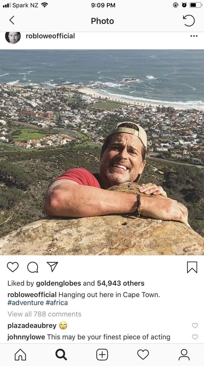 Human - ll Spark NZ ? 9:09 PM Photo robloweofficial ... Liked by goldenglobes and 54,943 others robloweofficial Hanging out here in Cape Town. #adventure #africa View all 788 comments plazadeaubrey O johnnylowe This may be your finest piece of acting (+