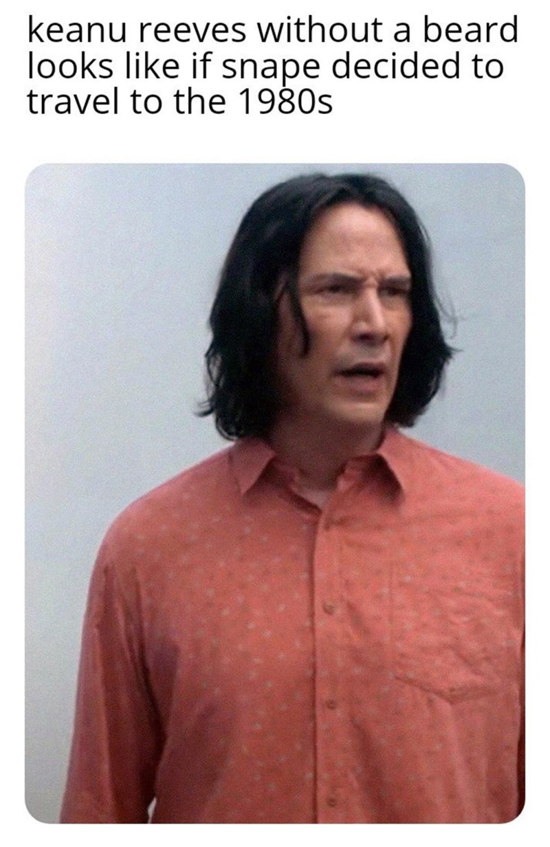 Human - keanu reeves without a beard looks like if snape decided to travel to the 1980s