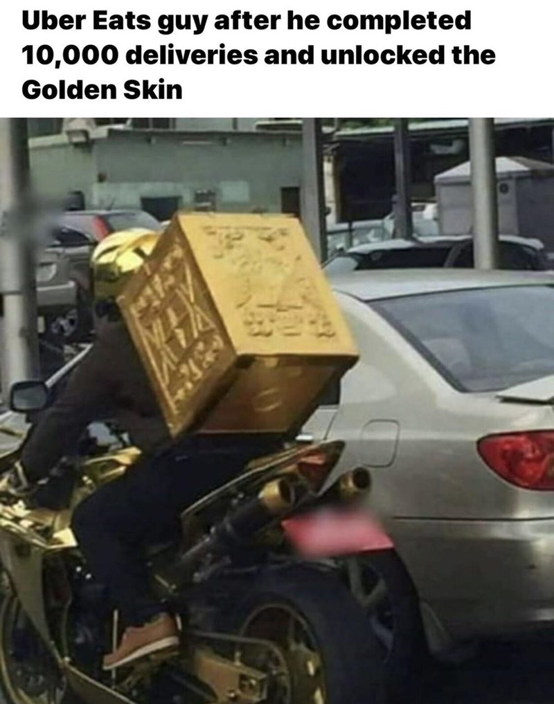 Motor vehicle - Uber Eats guy after he completed 10,000 deliveries and unlocked the Golden Skin