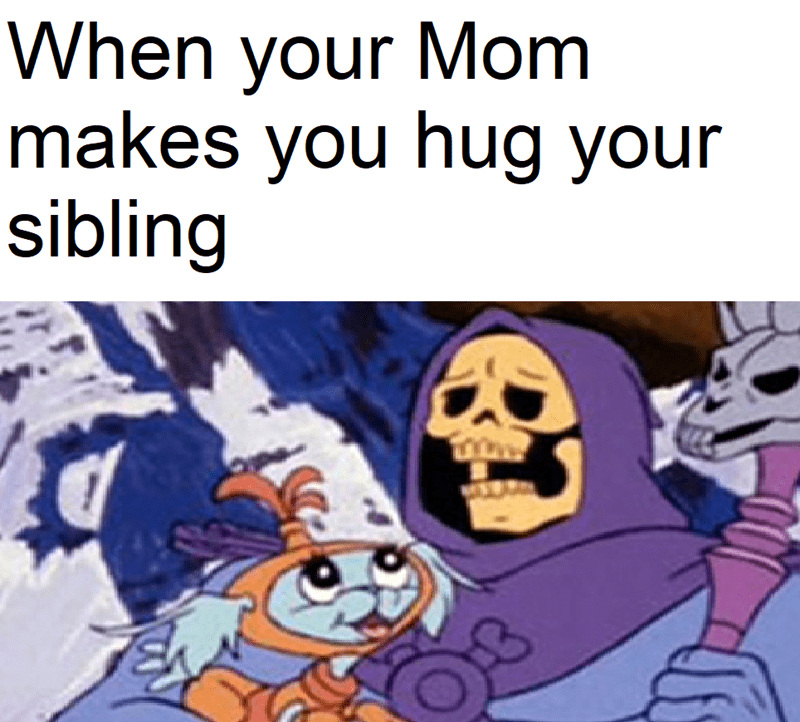 Animated cartoon - When your Mom makes you hug your sibling