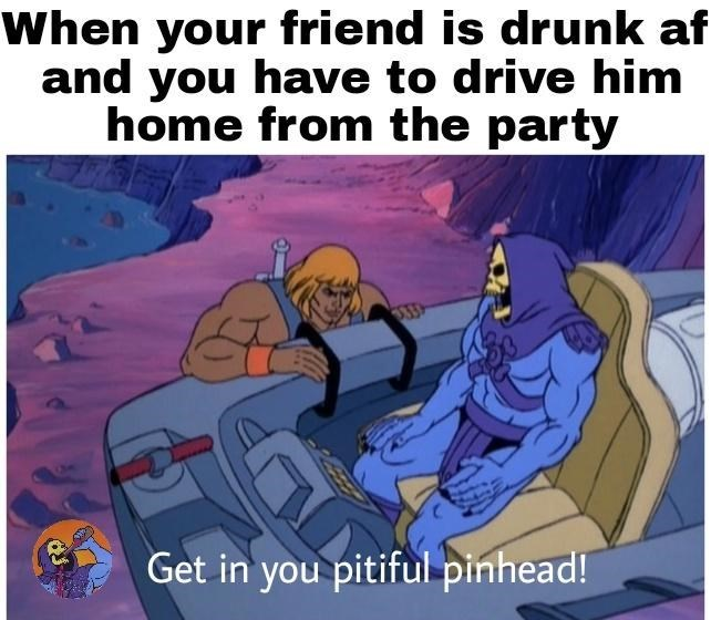 Cartoon - When friend is drunk af your and you have to drive him home from the party Get in you pitiful pinhead!