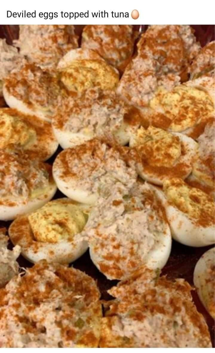 Dish - Deviled eggs topped with tuna