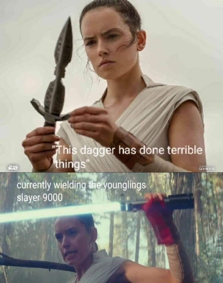 """Hand - """"This dagger has done terrible things currently wielding the younglings slayer 9000"""