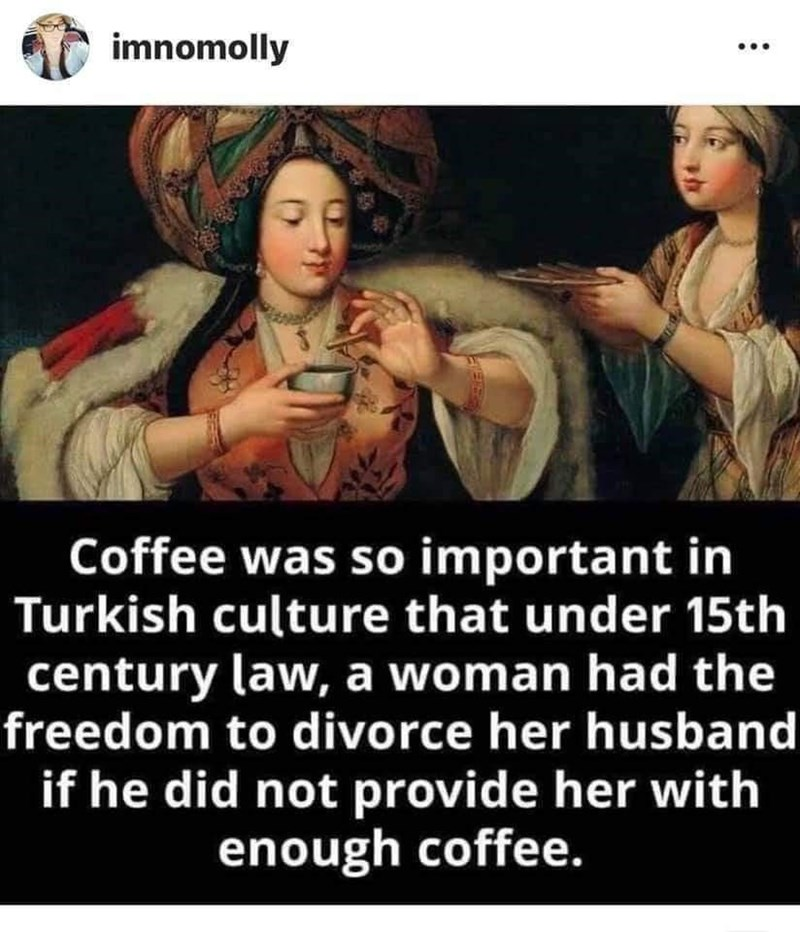 Text - imnomolly Coffee was so important in Turkish culture that under 15th century law, a woman had the freedom to divorce her husband if he did not provide her with enough coffee.