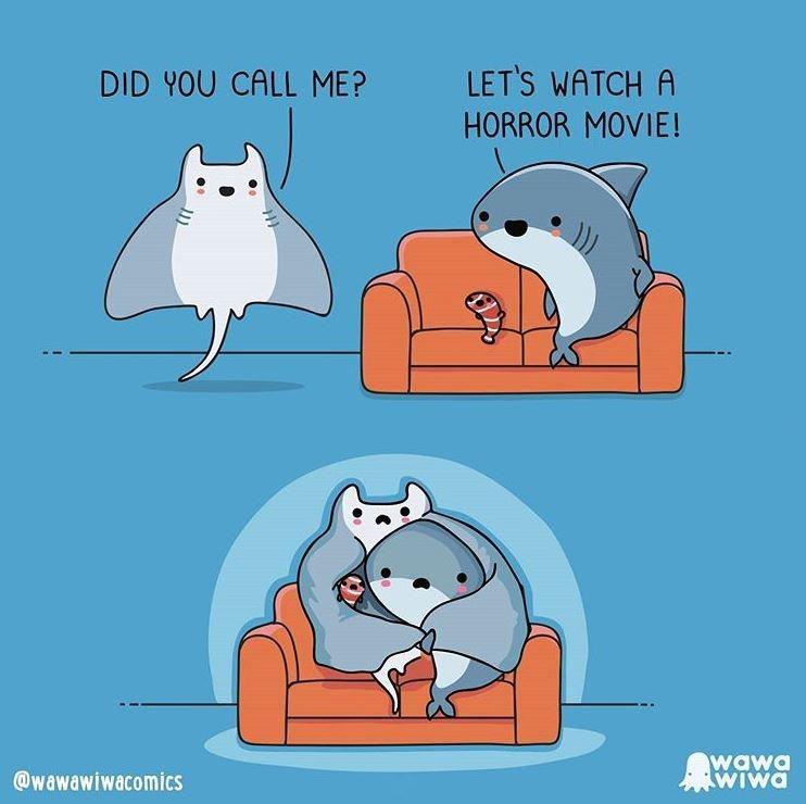 Cartoon - DID YOU CALL ME? LET'S WATCH A HORROR MOVIE! @wawawiwacomics wawa WIwa