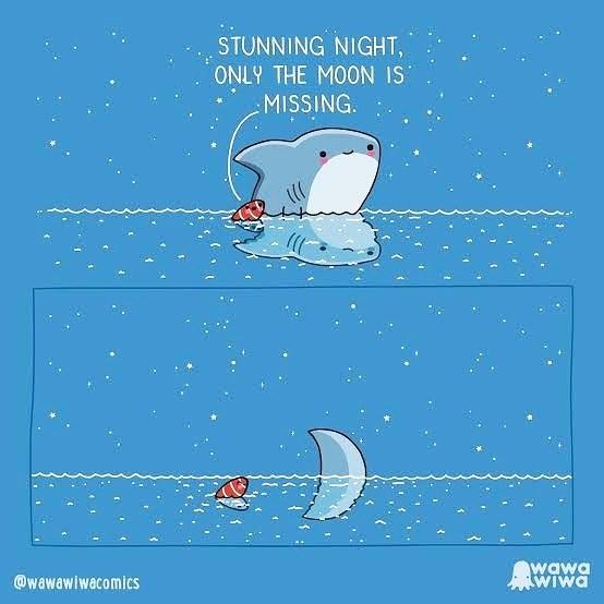Illustration - STUNNING NIGHT, ONLY THE MOON IS MISSING. @wawawiwacomics wawa WIwa