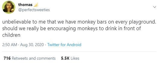 Text - thomas @perfectsweeties unbelievable to me that we have monkey bars on every playground. should we really be encouraging monkeys to drink in front of children 2:50 AM - Aug 30, 2020 - Twitter for Android 716 Retweets and comments 5.5K Likes