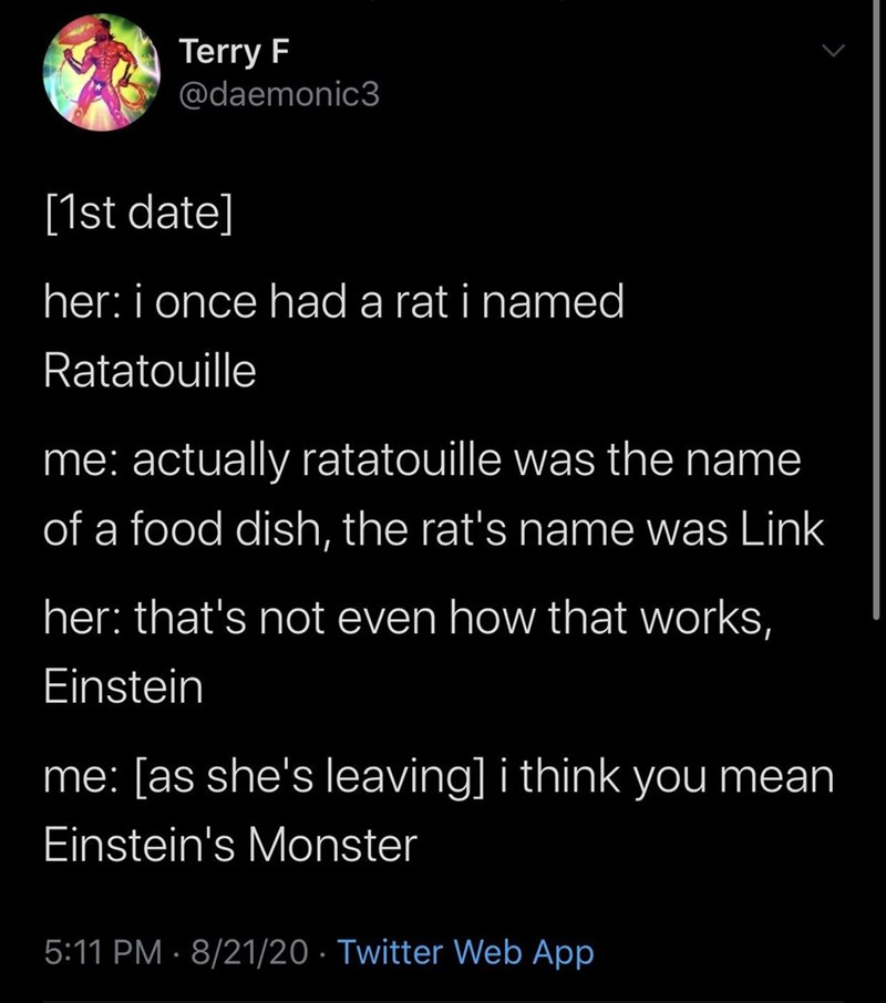 Text - Text - Terry F @daemonic3 [1st date] her: i once had a rat i named Ratatouille me: actually ratatouille was the name of a food dish, the rat's name was Link her: that's not even how that works, Einstein me: [as she's leaving] i think you mean Einstein's Monster 5:11 PM · 8/21/20 · Twitter Web App