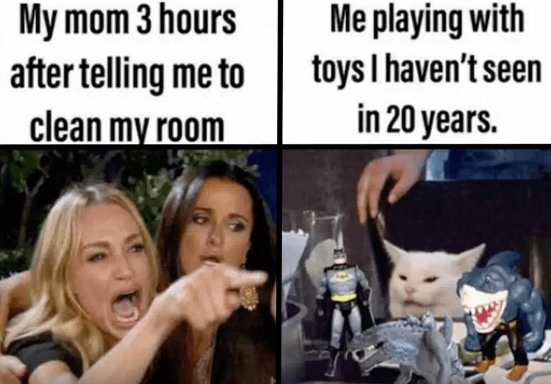 Facial expression - My mom 3 hours after telling me to clean my room Me playing with toys I haven't seen in 20 years.