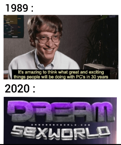 Photo caption - 1989 : It's amazing to think what great and exciting things people will be doing with PC's in 30 years 2020: REAT SEXWORLO