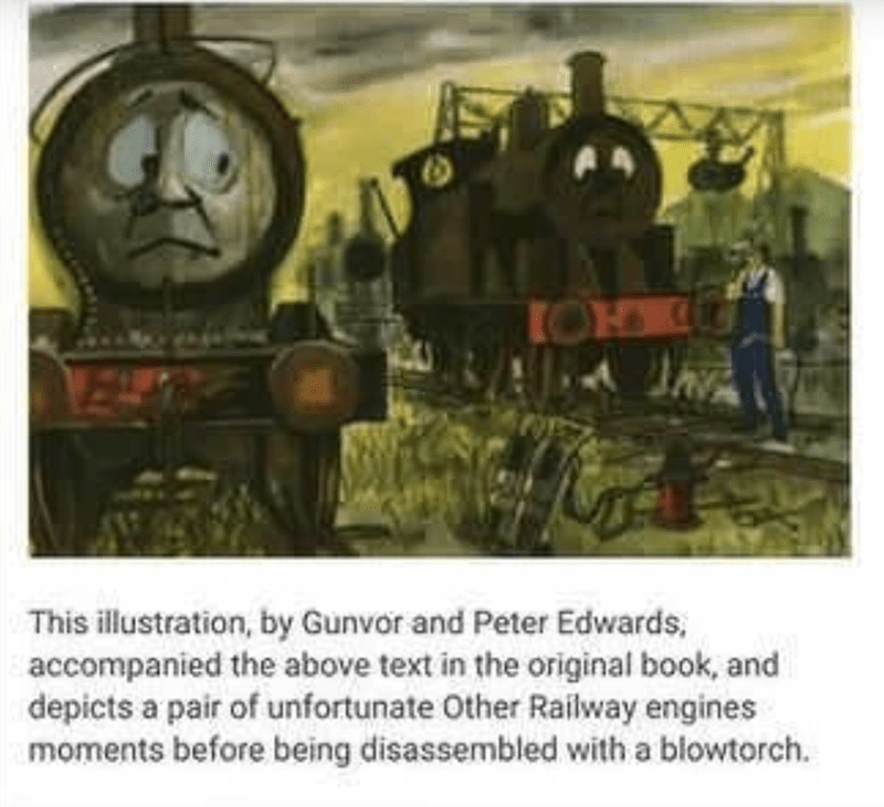 Transport - This illustration, by Gunvor and Peter Edwards, accompanied the above text in the original book, and depicts a pair of unfortunate Other Railway engines moments before being disassembled with a blowtorch.