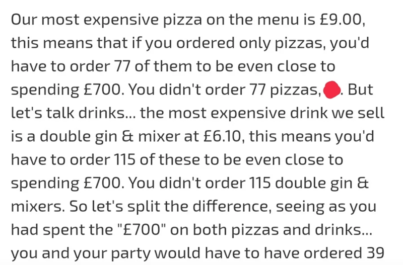 """Text - Our most expensive pizza on the menu is £9.00, this means that if you ordered only pizzas, you'd have to order 77 of them to be even close to spending £700. You didn't order 77 pizzas, But let's talk drinks... the most expensive drink we sell is a double gin & mixer at £6.10, this means you'd have to order 115 of these to be even close to spending £700. You didn't order 115 double gin & mixers. So let's split the difference, seeing as you had spent the """"£700"""" on both pizzas and drinks..."""