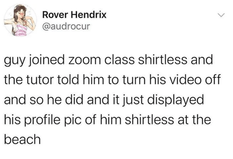 Text - Rover Hendrix @audrocur guy joined zoom class shirtless and the tutor told him to turn his video off and so he did and it just displayed his profile pic of him shirtless at the beach <>