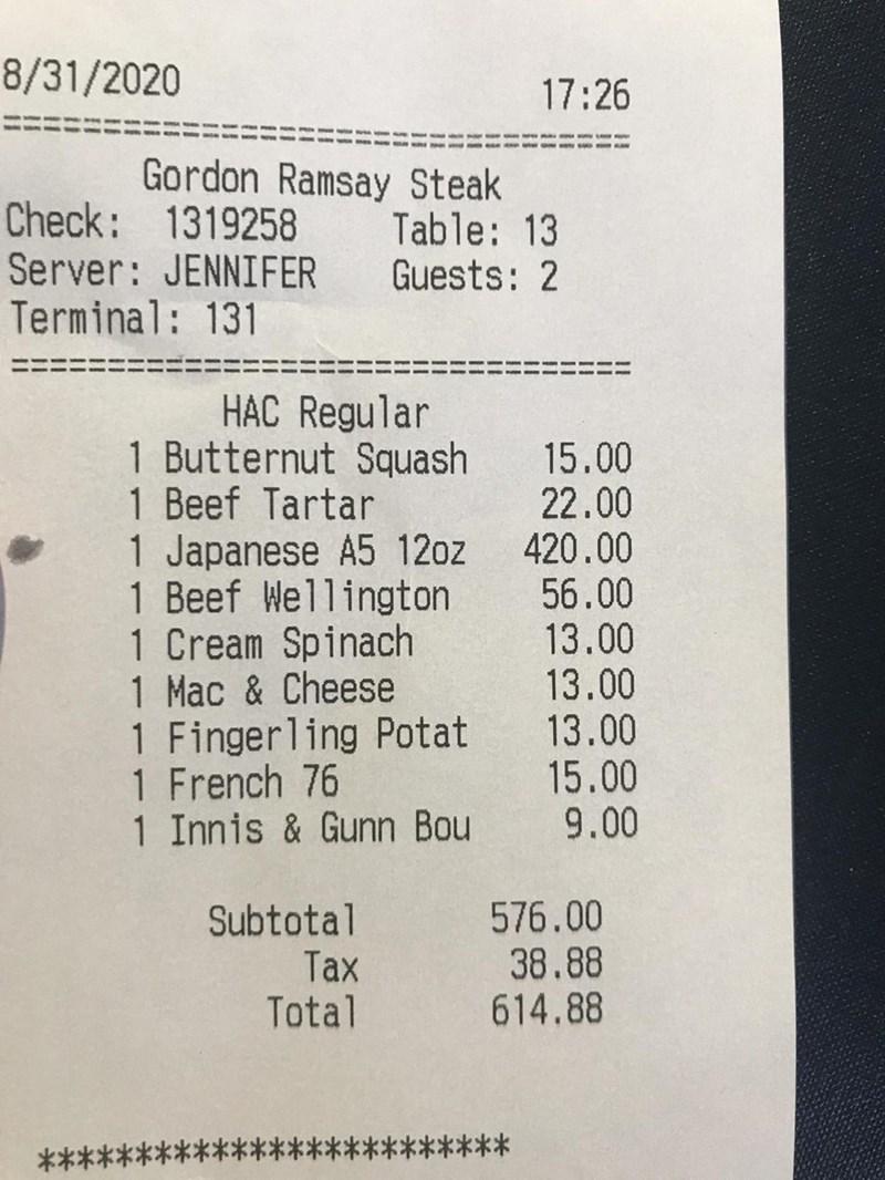 Text - 8/31/2020 17:26 Gordon Ramsay Steak Check: 1319258 Server: JENNIFER Terminal: 131 Table: 13 Guests: 2 HAC Regular 1 Butternut Squash 1 Beef Tartar 1 Japanese A5 12oz 1 Beef Wellington 1 Cream Spinach 1 Mac & Cheese 1 Fingerling Potat 1 French 76 1 Innis & Gunn Bou 15.00 22.00 420.00 56.00 13.00 13.00 13.00 15.00 9.00 Subtotal Tax Total 576.00 38.88 614.88 ********* *****