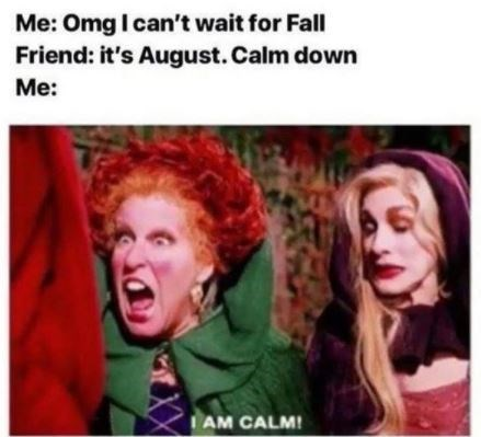 People - Me: Omg I can't wait for Fall Friend: it's August. Calm down Me: IAM CALM!