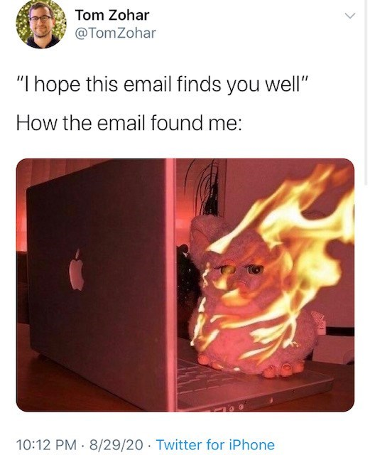 """Text - Tom Zohar @TomZohar """"I hope this email finds you well"""" How the email found me: 10:12 PM · 8/29/20 Twitter for iPhone"""