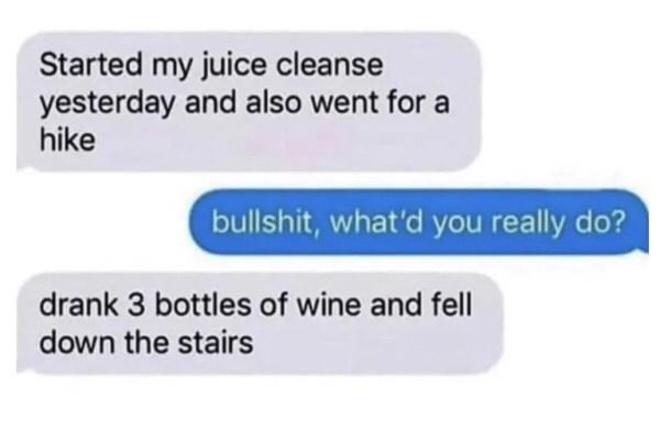 Text - Started my juice cleanse yesterday and also went for a hike bullshit, what'd you really do? drank 3 bottles of wine and fell down the stairs