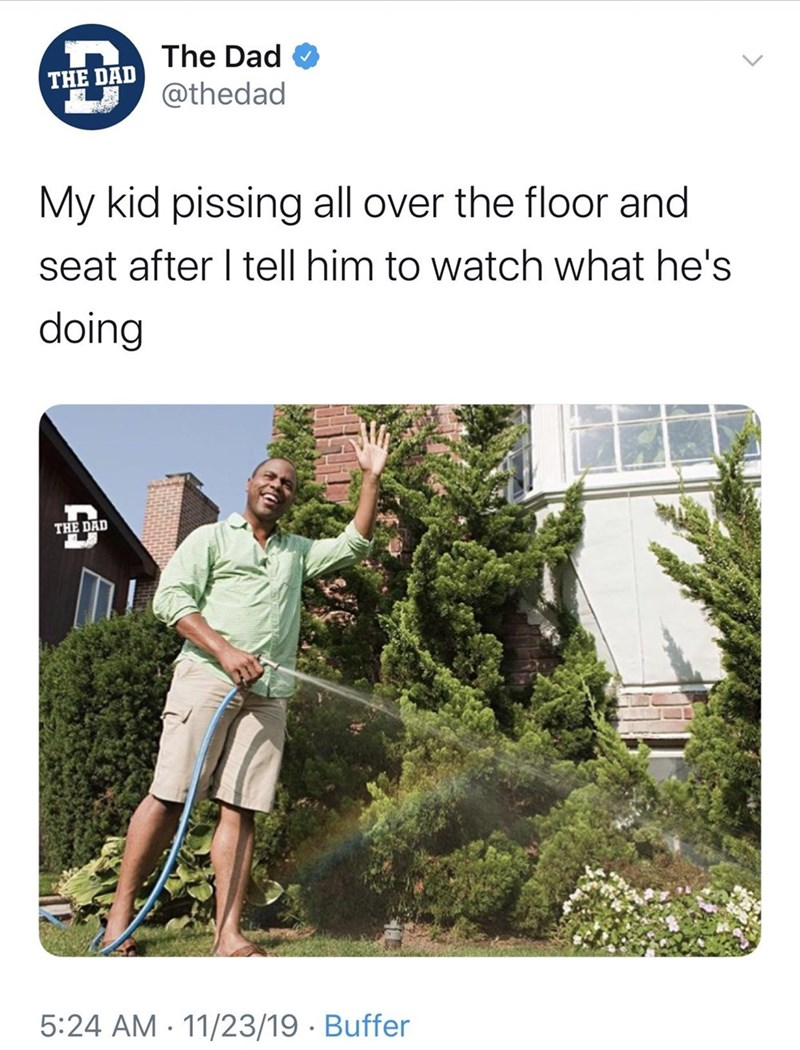 Terrestrial plant - The Dad THE DAD @thedad My kid pissing all over the floor and seat after I tell him to watch what he's doing THE DAD 5:24 AM · 11/23/19 · Buffer