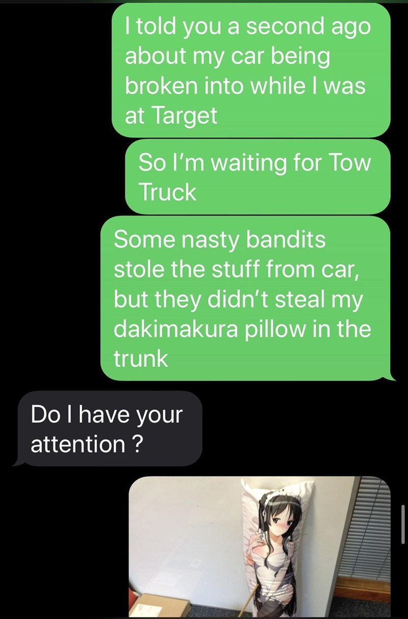 Text - Text - I told you a second ago about my car being broken into while I was at Target So l'm waiting for Tow Truck Some nasty bandits stole the stuff from car, but they didn't steal my dakimakura pillow in the trunk Do I have your attention ?