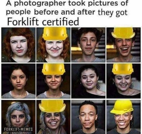 Facial expression - A photographer took pictures of people before and after they got Forklift certified FORKLIFT-MEMES