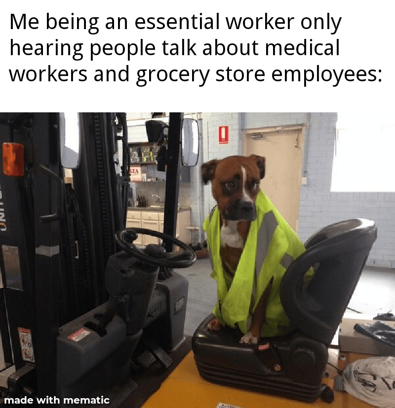 Dog - Me being an essential worker only hearing people talk about medical workers and grocery store employees: STA made with mematic