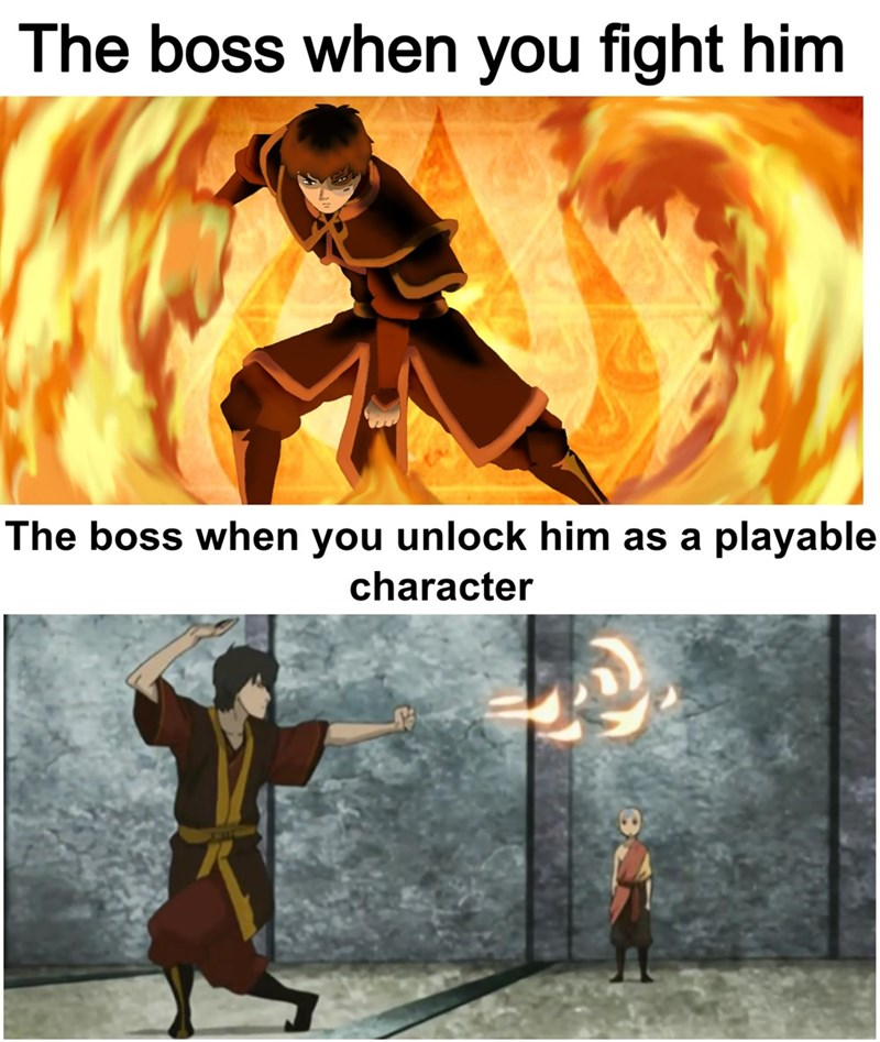Text - The boss when you fight him The boss when you unlock him as a playable character