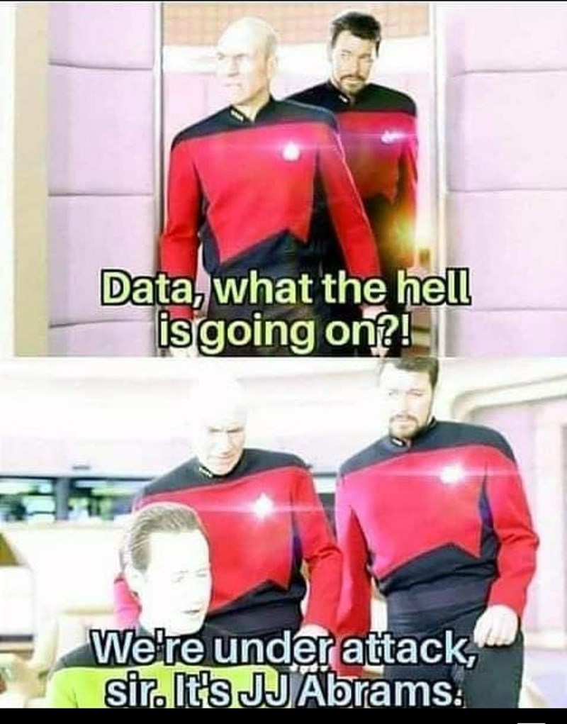 Shoulder - Data, what the hell isgoing on?! Were under attack, sir. It's JJAbrams.
