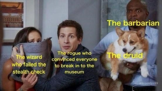 Welsh Corgi - The barbarian The rogue who convinced everyone The druid The wizard who failed the stealth check to break in to the museum brooklyn99