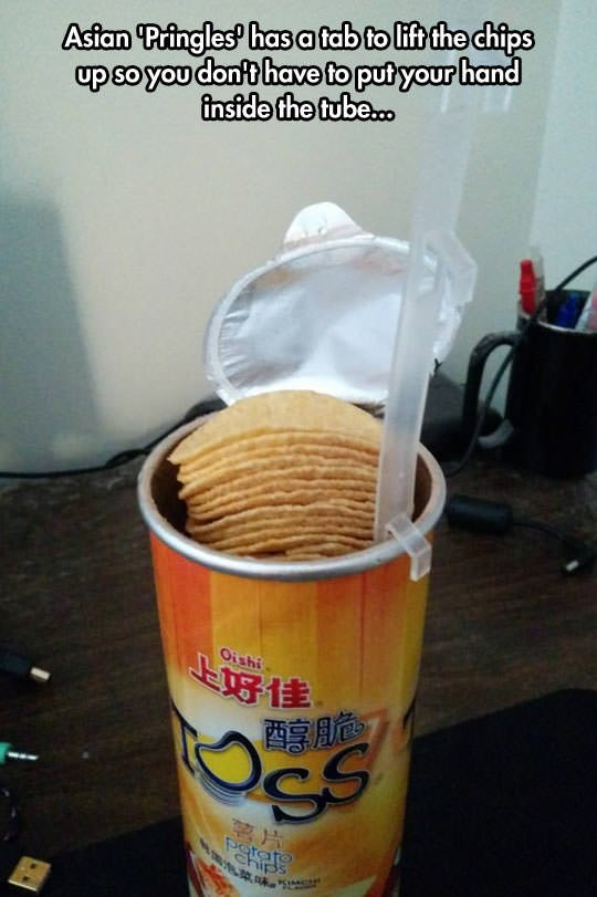 Food - up so you don't have to put your hand inside the tube. Asian Pringles has a tab to lift the chips Oishi 上好佳 Por