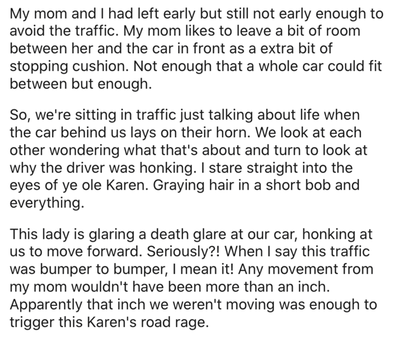 Text - My mom and I had left early but still not early enough to avoid the traffic. My mom likes to leave a bit of room between her and the car in front as a extra bit of stopping cushion. Not enough that a whole car could fit between but enough. So, we're sitting in traffic just talking about life when the car behind us lays on their horn. We look at each other wondering what that's about and turn to look at why the driver was honking. I stare straight into the eyes of ye ole Karen. Graying hai