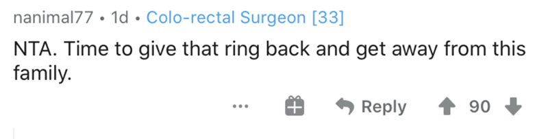 Text - nanimal77 • 1d •Colo-rectal Surgeon [33] NTA. Time to give that ring back and get away from this family. Reply 90 ...