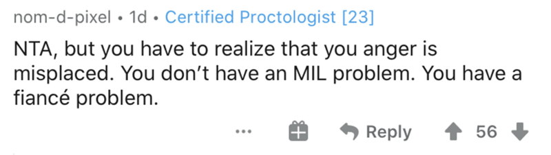 Text - nom-d-pixel • 1d • Certified Proctologist [23] NTA, but you have to realize that you anger is misplaced. You don't have an MIL problem. You have a fiancé problem. Reply 56 ...