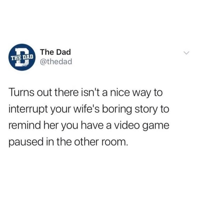 Text - The Dad THE DAD @thedad Turns out there isn't a nice way to interrupt your wife's boring story to remind her you have a video game paused in the other room.