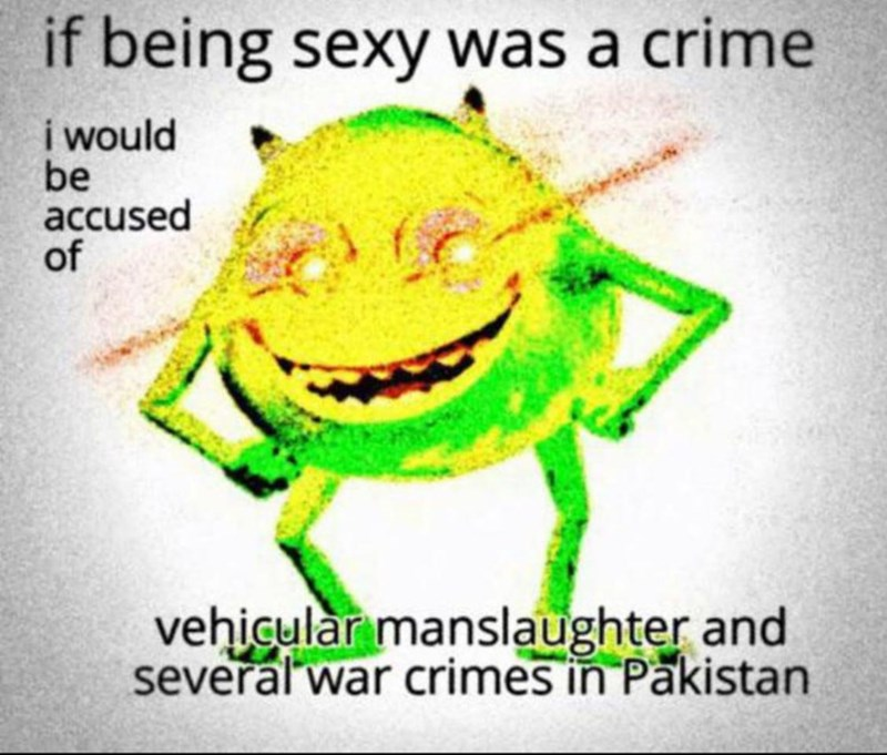 Organism - if being sexy was a crime i would be accused of vehicular manslaughter and several war crimes in Pakistan