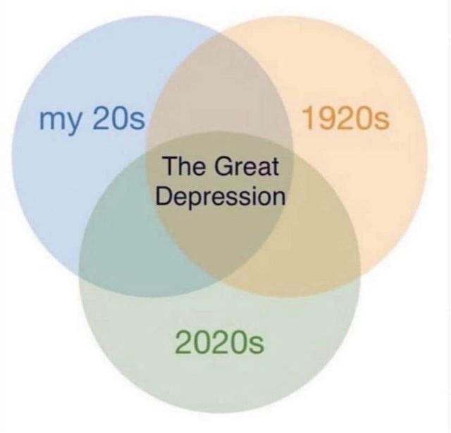 my 20s 1920s The Great Depression 2020s venn diagram
