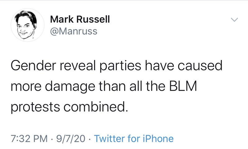 Text - Mark Russell @Manruss Gender reveal parties have caused more damage than all the BLM protests combined. 7:32 PM · 9/7/20 · Twitter for iPhone