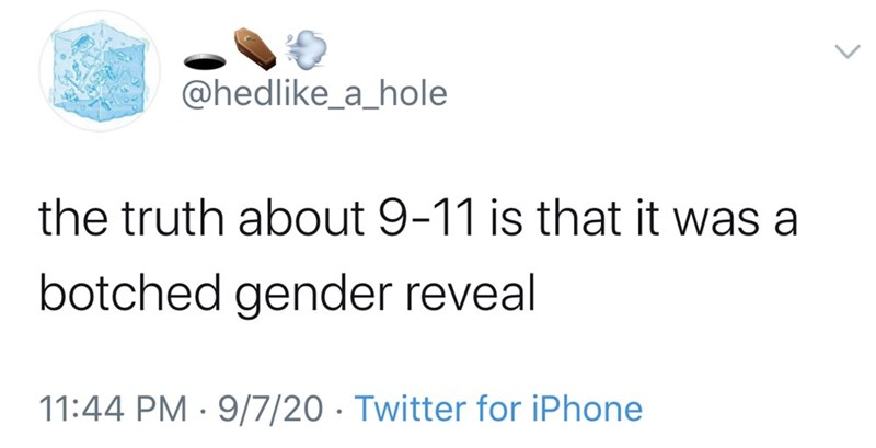 Text - @hedlike_a_hole the truth about 9-11 is that it was a botched gender reveal 11:44 PM · 9/7/20 · Twitter for iPhone