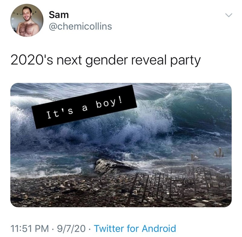 Text - Sam @chemicollins 2020's next gender reveal party It's a boy! 11:51 PM · 9/7/20 · Twitter for Android >