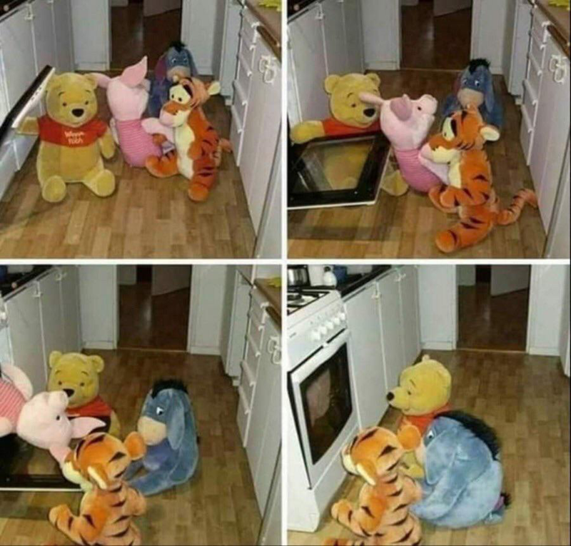 Funny panel images that show the Winnie the Pooh characters putting Piglet into the oven