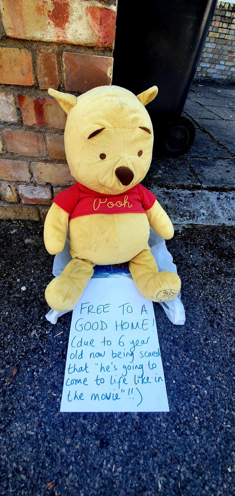 """Stuffed toy - Pooh 80 FREE TO A GOOD HOME (due to 6 year old now being scared to going that """"he's come to life liice in the movie"""" !)"""