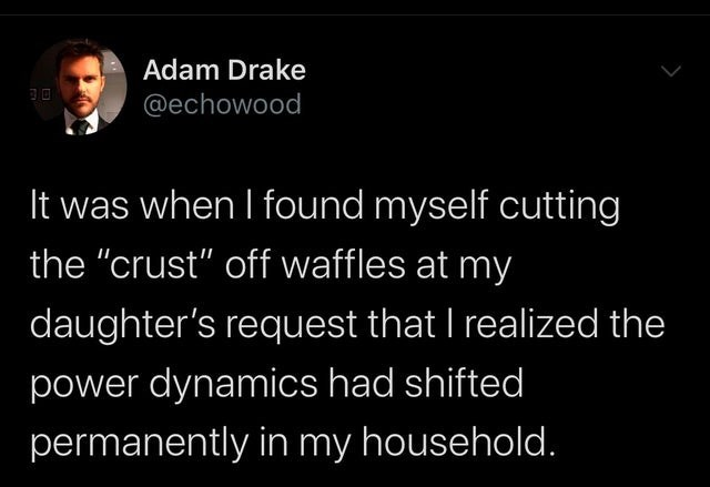"""Text - Adam Drake @echowood It was when I found myself cutting the """"crust"""" off waffles at my daughter's request that I realized the power dynamics had shifted permanently in my household."""