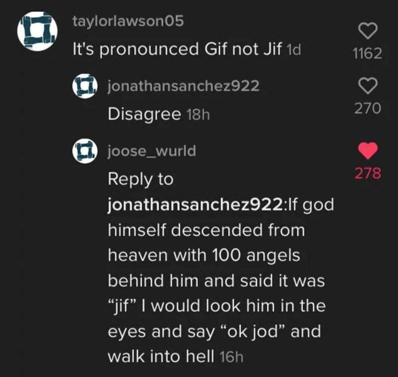 """Photography - Text - taylorlawson05 It's pronounced Gif not Jif 1d 1162 jonathansanchez922 ♡ 270 Disagree 18h joose_wurld 278 Reply to jonathansanchez922:lf god himself descended from heaven with 100 angels behind him and said it was """"jif"""" I would look him in the eyes and say """"ok jod"""" and walk into hell 16h"""
