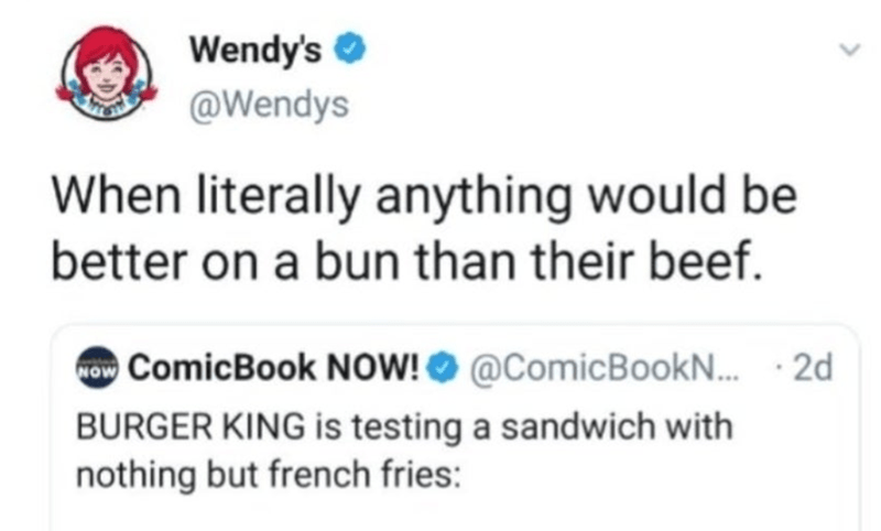 Photography - Text - Wendy's O @Wendys When literally anything would be better on a bun than their beef. now ComicBook NOW! O @ComicBook.. · 2d BURGER KING is testing a sandwich with nothing but french fries: