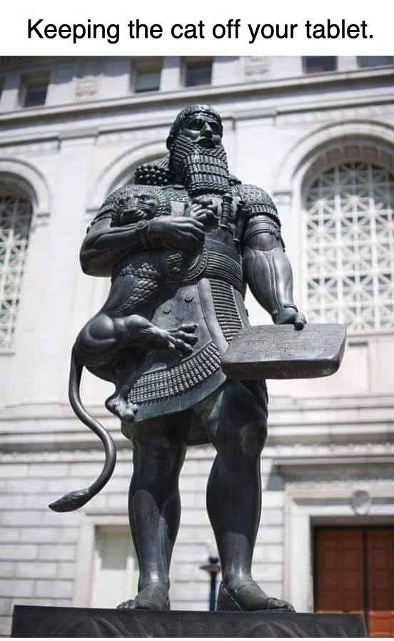 Statue - Keeping the cat off your tablet.
